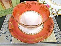 ROYAL GRAFTON TEA CUP AND SAUCER PINK & GOLD GILT FILIGREE TEACUP PATTERN