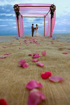 wedding on the beach... I like the burlap aisle runner with flower petals on it... doing that for sure