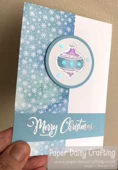 Paper Daisy Crafting: Tag Buffet Christmas Bauble card - video tutorial Christmas Catalogs, Christmas Minis, Christmas Baubles, Christmas Cards, Little Snowflake, Paper Daisy, Pretty Cards, Thank You Gifts, Creative Cards