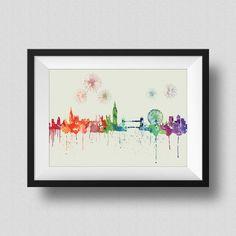 London Skyline Rainbow Watercolor Map Art Print London Skyline United Kingdom Ink Splash Poster Art Canvas