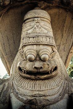 Ugra Narasimha Idol from Hampi, India Indian Temple Architecture, India Architecture, Hindu Deities, Krishna Art, Hindu Art, Buddhist Art, Ancient Art, Indian Art, Sculptures