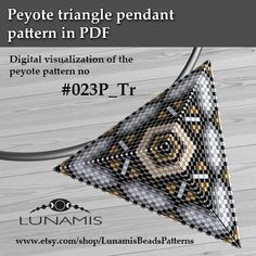 Peyote triangle patterns, pattern for triangle pendant, peyote patterns, beading, peyote stitch, digital file, pdf pattern #023P_Tr