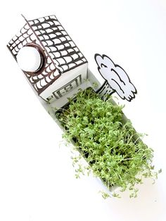 Tetrapack upcycling: cardboard house with cress garden As part of the Monstamoons upcycling challenge, I made this cute little house with a cress garden on the topic of Tetra Diy Furniture Couch, Diy Furniture Projects, Garden Projects, Cardboard Furniture, Recycled Crafts, Diy And Crafts, Paper Crafts, Diy Simple, Easy Diy