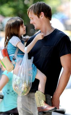 Alexander Skarsgard on the set of What Maisy Knew with his petite costar, Onata Aprile.