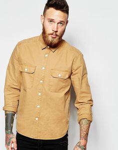 ASOS Worker Shirt In Stone With Long Sleeves