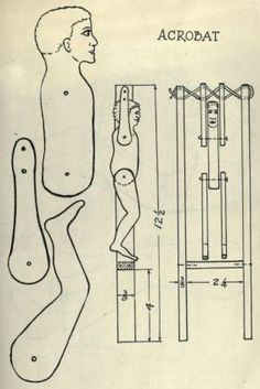 Pattern for a wooden acrobat toy