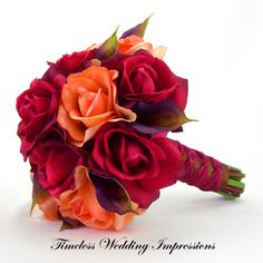 Fall Wedding Bouquet Autumn Bridal Roses Calla by TimelessWedding