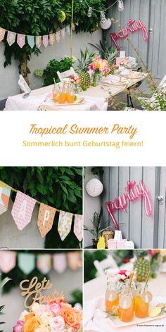 Ihr seid eingeladen zu dieser herrlich bunten und fröhlichen Geburtstagsparty! Tropical Partys sind ja der Sommertage-Trend in diesem Jahr, doch wer feiert schon am Strand unter Palmen? Klar, toll wäre das, aber in deutschen Reihenhausgärten wirken Flamingos doch eher irritierend, oder? Die farbige Fröhlichkeit einer tropical Summer Night darf man sich aber dennoch ins Haus …