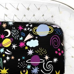 Organic Crib Sheet Space Outer Space Nursery, Personalized Baby Blankets, Crib Sheets, Organic Baby, Nursery Wall Art, Cribs, Baby Shower Gifts, Handmade, Personalised Baby Blankets