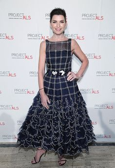 """Carolina Herrera dressed Julianna Margulies in a Resort '17 dress and belt to the 18th Annual Project ALS """"Tomorrow Is Tonight"""" New York Gala on Wednesday, November 9th, 2016."""
