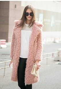 Luxury Faux Fur Long Lapel Fashion Coat S-3XL 3 Colors