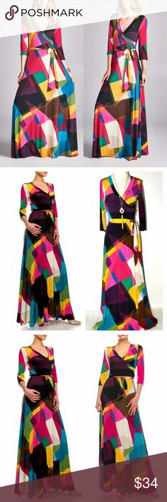"""Abstract Geo Venechia Wrap Long Sleeve Maxi Dress Abstract Geo Venechia Wrap Maxi Dress  The Details: Surplice Wrap Top; Belted, Closed at Bottom. 100% Polyester 3/4 Sleeves. Super soft. Made in USA  Hand wash cold, hang dry.  Model is wearing a regular US Size S.   Small (2-6): bust 34""""-36"""" / waist 25""""-27"""" / hip 35""""-38"""" / length 57""""  Medium (8-10): bust 37""""-39"""" / waist 28""""-30"""" / hip 39""""-42"""" / length 58""""  Large (12-14): bust 40""""-42"""" / waist 31""""-33"""" / hip 43""""-46"""" / length 59""""  XLarge (16)…"""