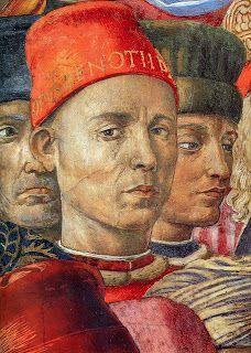 """Benozzo Gozzoli (1420 - 1497) was een Italiaanse renaissance schilder. In 1459 werd Gozzoli gevraagd om de privékapel van het Palazzo Medici te decoreren. Gozzoli gebruikte voor deze fresco-cyclus de aanbidding van de drie wijzen als onderwerp. Hij spreidde de fresco's uit over drie muren en liet de processies eindigen bij de ster boven het hoofdaltaar. Detail """"Aanbidding van de drie wijzen"""""""