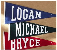 DIY Personalized Pennants - Great idea to make with school name or class year for high school reunion decoration!