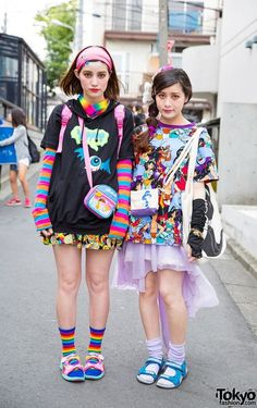 Harajuku Sisters w/ Colorful Fashion, Cute Accessories, Disney, Spinns & WEGO (Tokyo Fashion, 2015) | Japanese fashion | Pinterest