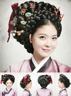"Traditional Hairstyles for Modern Beauties * Gisaeng Style: While traditional Korean dresses are represented by the words ""elegant"" and ""refined,"" the clothes worn by female entertainers of the Chosun Dynasty exude splendor and voluptuousness. Accentuating them, the hairdo known as ""tre meori"" features a braided coil. This style is often found in the genre paintings of the era."