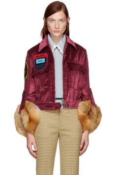 Miu Miu - Burgundy Velvet Fur Sleeve Jacket