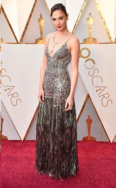 Gal Gadot from Standout Style Moments From Oscars 2018  The Wonder Woman actress dazzled in a sequined stunner.