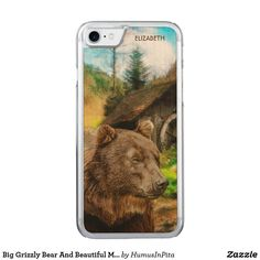 Big Grizzly Bear And Beautiful Mountains Landscape Carved iPhone 7 Case
