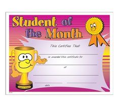 student of the month certificate templates