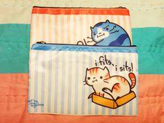 "Cute Kitty Zipper Pouch 8"" x 5"". $12.00, via Etsy."