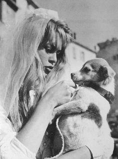 Brigitte Bardot and a puppy!