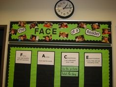 """Cafe board, """"face of a reader"""" cute idea. Also I like green and black together."""