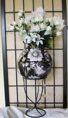Gourd Art Vase Black & White Elegance Handmade by ArtFromLynsHeart, $125.00
