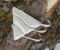 Triple anillo triángulo en plata, tres anillos en uno