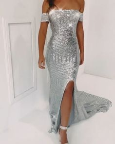 Off the Shoulder Sequined Long Prom Evening Dresses with Split Front silver mermaid prom dressessilver mermaid prom dresses Sparkly Prom Dresses, Prom Dresses Uk, Mermaid Prom Dresses, Sexy Dresses, Bridesmaid Dresses, Elegant Dresses, Pretty Dresses, Beautiful Dresses, Dream Dress