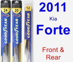 Front & Rear Wiper Blade Pack for 2011 Kia Forte - Hybrid