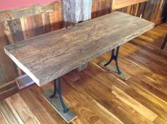 Reclaimed Wood Table with Antique, Salvaged Metal Legs | Old Barn Wood with Extreme Character | Rustic Home Decor & Vintage Steampunk