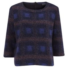 Gestuz Women's Pokka Boxy Pullover - Blue Check (295 BAM) ❤ liked on Polyvore featuring tops, sweaters, blue, full length sweater, blue crewneck sweater, print top, pattern tops and blue crew neck sweater