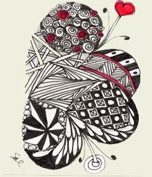 combined hearts zentangle Zentangle Patterns, Zentangles, Love Coloring Pages, Simple Shapes, Dangles, Meditation, Diy Crafts, Heartstrings, Graphic Design