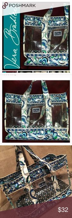 Vera Bradley Resort Tote Bag Vera Bradley Resort Extra Large Clear Plastic Tote Bag in Great Condition. Dimensions are 17'x13'x6'. Open top w silver metal key holder. Vera Bradley Bags Totes