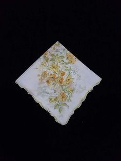 Free Shipping - Vintage Handkerchief  - Yellow floral by TeresaScholleDesigns on Etsy