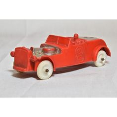 Auburn rubber toy car 1950s Number 8 Flathead red and silver White wheels