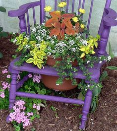 purple chair planter