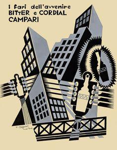 Fortunato Depero (1892-1960), 1931, I fari dell'avvenire Bitter e Cordial Campari (The headlights of the future Bitter and Cordial Campari). #ItalianFuturism India Ink, Cosmopolitan, Cordial, Meant To Be, Photo Studio, Bitter, Rome, Milan, Futurism
