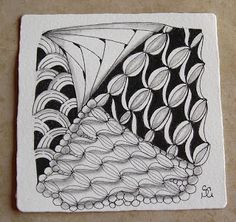 Tangles: Zazzy and other patterns.  Zentangle drawn by Sue Clark. CZT / Tangled Ink Art.