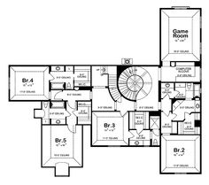 Second floor of my dream home. Have the stair rail form a right angle near bedroom 3 and its perfect. option 1  http://www.eplans.com/house-plans/epl/hwepl62427.html?from=search