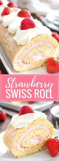 Hypoallergenic Pet Dog Food Items Diet Program Strawberry Swiss Roll Cake Is A Light And Refreshing Cake That's Perfect For Summer A Fluffy Cake Roll That Is Easier To Make Than You Think And Tastes So Delicious. Ideal For Guests And Special Occasions Cake Roll Recipes, Best Dessert Recipes, Top Recipes, Baking Recipes, Strawberry Swiss Roll Cake Recipe, Strawberry Desserts, Recipe For Jelly Roll Cake, Jelly Roll Cakes, Swiss Roll Cakes