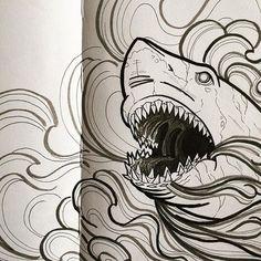 Some ink.  .  .  #artdaily #drawingoftheday #drawing #shark #sharktattoo #sketch #sketchaday #sketchbook #illustration #moleskine #barsketch #ink #tattoo #draweveryday