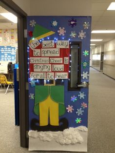 Christmas door. Love Buddy!!! Someone needs to so this at work!!!!!