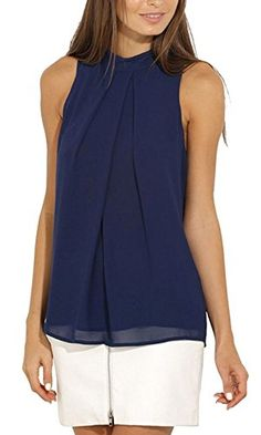 on sale fc4b2 225a2 ... Solid Halter Neck Sleeveless Blouse Summer Tank Shirt Tops 12 Navy --  More info could be found at the image url.Note It is affiliate link to  Amazon.