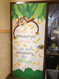 Door Decorating idea. Well, I'm not going to say this was an easy idea for a door, but it was fun. The monkey was made in a few diffe...