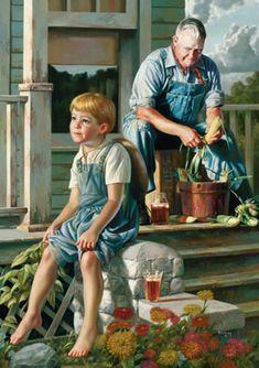 """""""The Greatest Storyteller"""", by American artist - Bob Byerley ), Oil on board."""