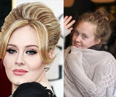 Adele  This numerous award-winning singer is known for her voluptuous hair and smoldering eye makeup. How does she look with more relaxed hair and no makeup? Adorable. According to sources, when Adele was initially spotted she pulled her cozy sweater up but gave in soon after to peeking out with a friendly wave.