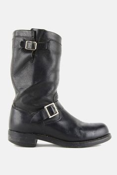 Vintage Midnight Rider Buckled Leather Biker Boots - One More Chance Boutique