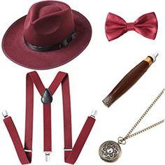 BABEYOND 1920s Mens Gatsby Gangster Costume Accessories Set 30s Manhattan  Fedora Hat Suspenders Mens Gatsby Costume e0fa7800f2d1